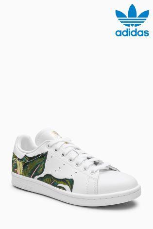 vitalidad Existencia suelo  Zapatillas blancas con estampado de hojas Stan Smith de adidas ...