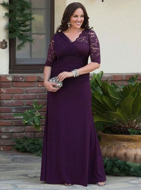 11ef88ca93b03 V-Neck Ruched Half Sleeves Chiffon Mother Of The Bride Plus Size Prom  Dresses with