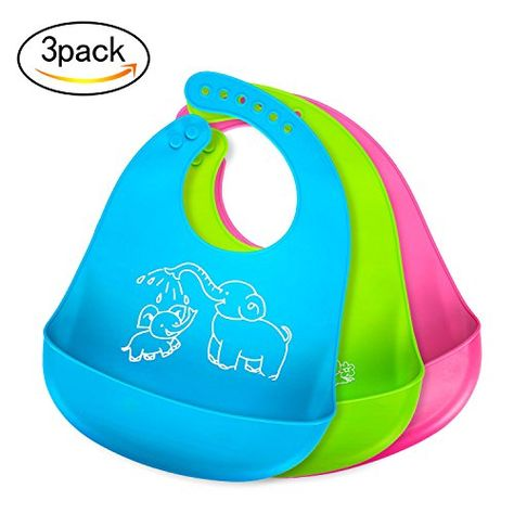 Green and Blue Soft & Comfortable for Babies and Toddlers 2 Pack Waterproof Silicone Baby Bibs Easily Wipes Clean and Keep Stains Off