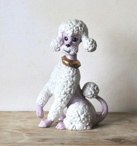 Mid Century Large Ceramic Poodle Lavender Hand Painted  ivorybird
