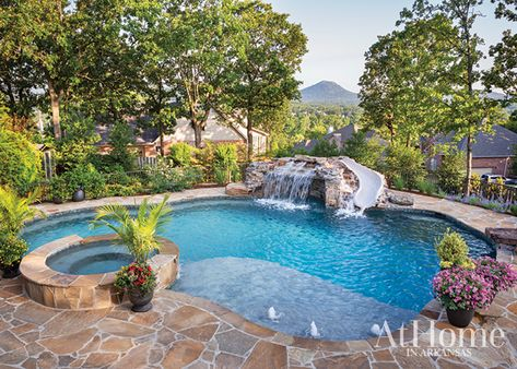 A blank-slate backyard undergoes a massive transformation, complete with spaces for both kids and kids at heart to enjoy and an abundance of colorful plantings Backyard Pool Landscaping, Backyard Pool Designs, Small Backyard Landscaping, Swimming Pools Backyard, Swimming Pool Designs, Landscaping Rocks, Pool In Small Backyard, Landscaping Equipment, Acreage Landscaping