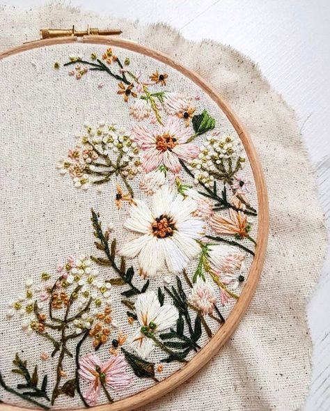 The colour palette for this wedding hoop commission was absolutely gorgeous! Antique gold, fern green, blush The colour palette for this wedding hoop commission was absolutely gorgeous! Hand Embroidery Stitches, Embroidery Hoop Art, Ribbon Embroidery, Cross Stitch Embroidery, Wedding Embroidery, Embroidery Ideas, Hand Stitching, Hand Embroidery Flowers, Embroidered Flowers
