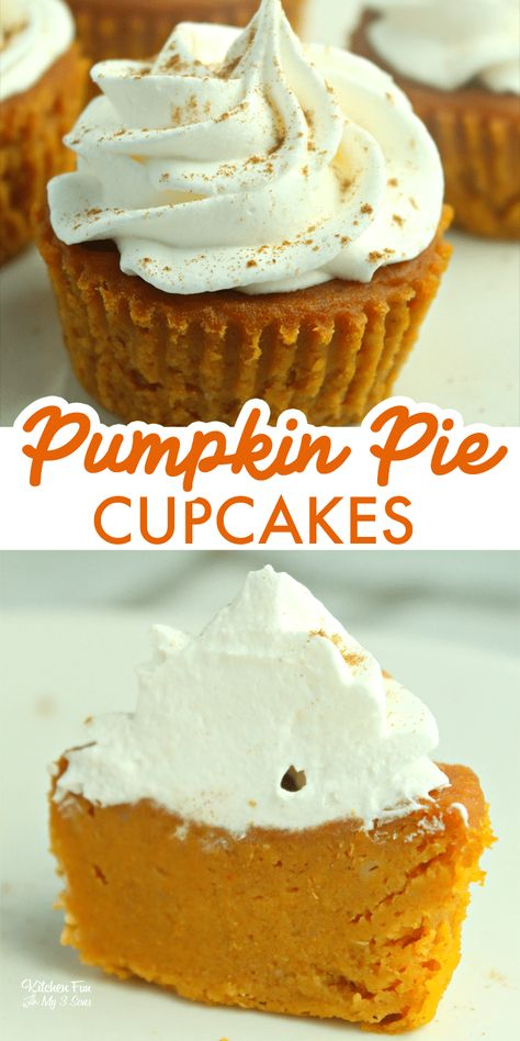 Food Cakes, Cupcake Cakes, Cupcake Ideas, Bundt Cakes, Pumpkin Pie Cupcakes, Pumpkin Dessert, Yummy Cupcakes, Pumpkin Pie Muffins, Pumpkin Pie Recipes