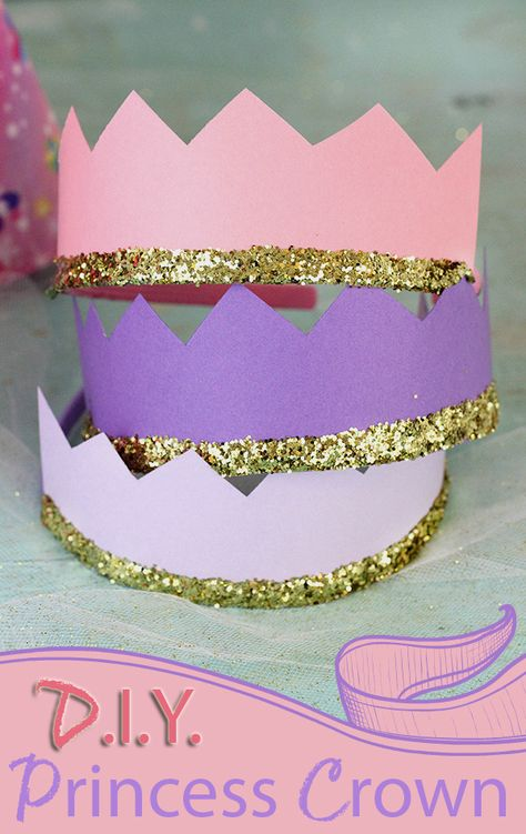 """Royal Tiara"" DIY princess crowns with card stock and glitter.DIY princess crowns with card stock and glitter. Princess Theme Birthday, Barbie Birthday Party, Princess Tea Party, Barbie Party, Princess Sophia, 5th Birthday, Diy Tiara, Diy Birthday Crown, Birthday Crafts"