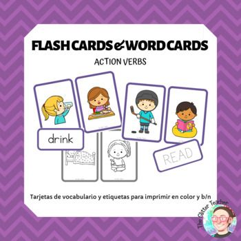 Flash Cards Action Verbs Flashcards Action Verbs Word Cards