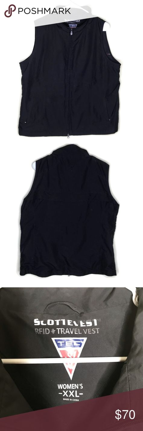 Scottevest Black RFID Travel Vest Tec 18 Pockets Scottevest Womens XXL Black RFID Travel Vest Tec 18 Pockets  Item is in great condition with no holes or stains. Great for travel!  Approximate measurements with garment laid flat Pit to pit 23