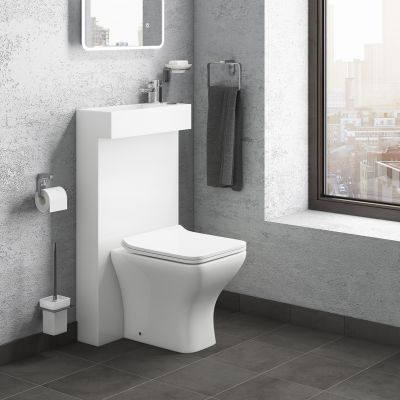 Cassellie Futra Black Ash Space Saving Toilet With Built In Sink