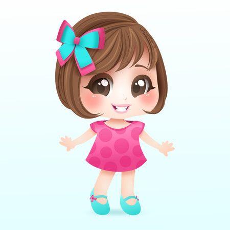 Mascote Logotipo Artesanato Desenho De Menina Bonita Boneca