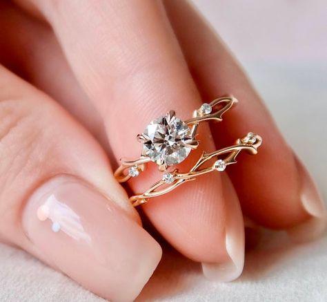 Dainty Twig Engagement Set Rose Gold Branch Bridal Set | Etsy