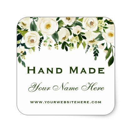 Hand Made Green White Watercolor Floral Small Square Sticker Zazzle Com Floral Watercolor Floral Gifts Handmade