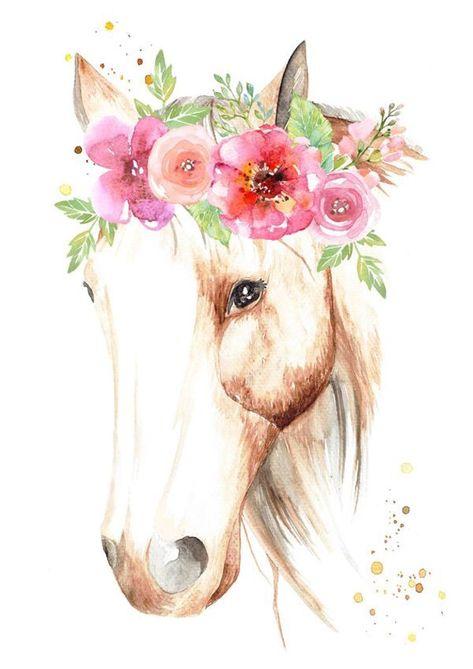 Equestre Arts | Cavalo aquarela com flores | Capa para Planner | Scrapbook | Scrap