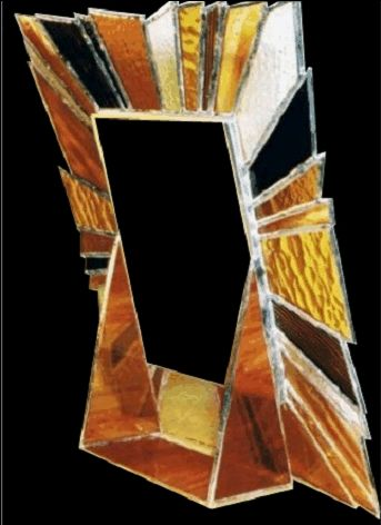 vertical or horizontal Stained glass picture frame Opal colors