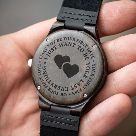 """This wooden watch makes a great gift. Your husband or boyfriend,wife or girlfriend will love it! The watch is made from real wood and the bands are made from real leather. The quote is laser engraved on the back of the watch and will never fade. The watch is a lovely reminder with the engraved quote:""""I may not be you"""