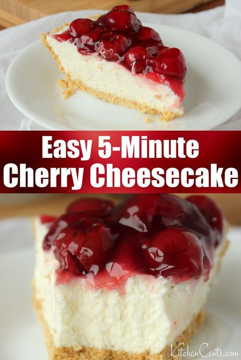 Easy cheesecake topped with cherries. A no-bake cheesecake dessert. Get your cheesecake fix with this easy cheesecake recipe. Creamy, dense cheesecake great for summer BBQs, Valentine's Day, Christmas or any night of the week. An easy dessert fo No Bake Cherry Cheesecake, Baked Cheesecake Recipe, Cheesecake Desserts, Mini Desserts, No Bake Cheescake, No Bake Cheesecake Filling, Classic Cheesecake, Cheesecake With Sour Cream, Desserts For Summer