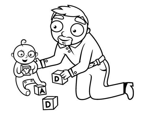 Dibujo De Padre Jugando Con Bebe Para Colorear Dibujos De Padres Senor Dibujo Padre