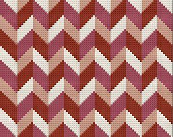 Chevron Shaded Afghan, C2C Crochet Pattern, Written Row