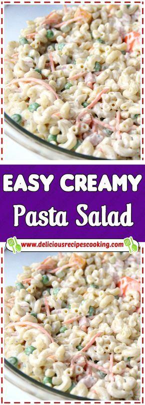 Easy Creamy Pasta Salad Creamy Pasta Salads Diet Food Snacks Pasta Salad