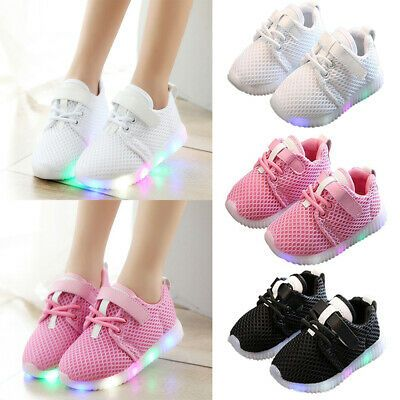 LED Kids Boy Girl Sports Shoes Baby Lights Running Mesh Sneaker Breathable Shoes