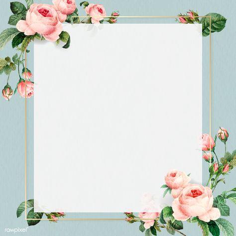 Golden square frame design vector | premium image by rawpixel.com #vector #vectoart #digitalpainting #digitalartist #garphicdesign #sketch #digitaldrawing #doodle #illustrator #digitalillustration #modernart #frame #flower #rose