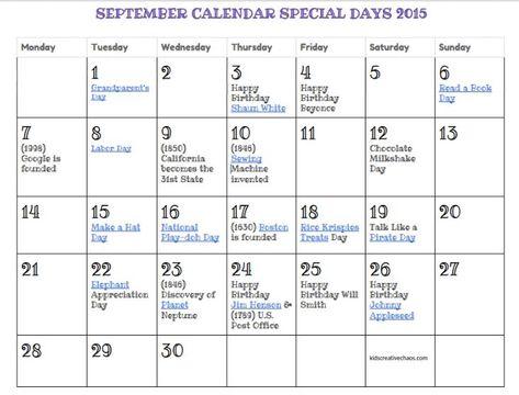 September Calendar Of Special Days Holidays Free Printable