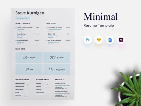 Minimal Resume Template For Designer With Cover Letter In Sketch PSD XD DOCX File Enrolling A CV Is Essential At Every Job Interview