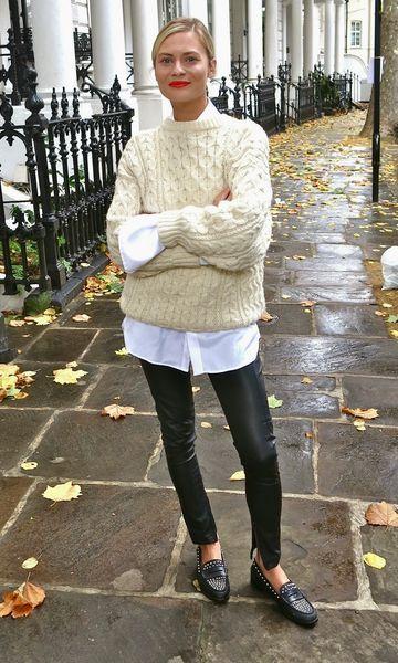 Look Suéter + Camisa   Roupas com legging