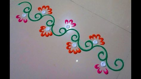 Very small rangoli design, rangoli border.
