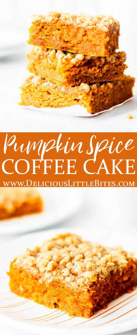 Pumpkin Spice Coffee cake is a simple coffee cake recipe made with pumpkin puree and pumpkin pie spice. It's the perfect fall version of this classic recipe that can be enjoyed for breakfast or as a sweet treat. It pairs perfectly with coffee or tea.   #pumpkin #pumpkinspice #pumpkinpiespice #pumpkincoffeecake #pumpkinspicecoffeecake #coffeecake #dessert #cake #fallfood #falldessert #comfortfood