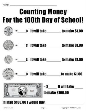 Printable 100th Day Of School Counting Money Worksheet Counting Money Worksheets Money Worksheets Money Math Lessons