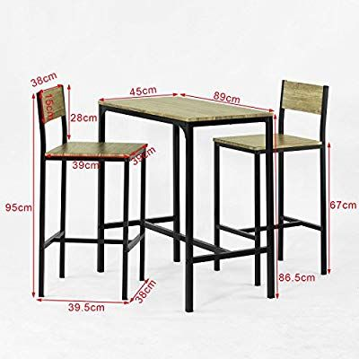 Sobuy Ogt03 Ensemble Table De Bar 2 Chaises Set De 1 Table 2