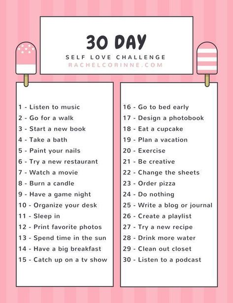 A new month is coming up, which means it's the perfect time to start a 30 day self love challenge! #selflove #selfcare #30daychallenge #challenge