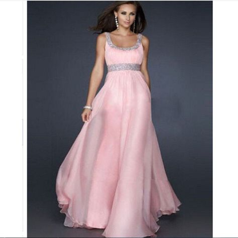 Custom Tailored Square Beading Ruched Empire Floor Length Pink Inexpensive Chiffon Prom Dresses Under 150 Sale