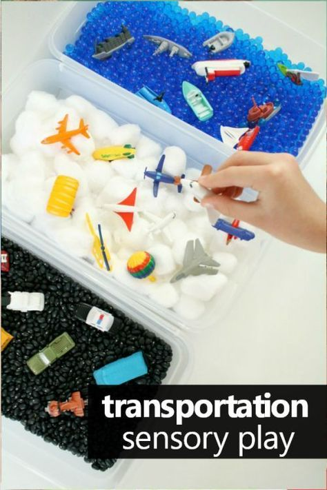 Add some sensory play to your preschool and toddler transportation theme activities with this vehicles sensory bin and sorting activity.
