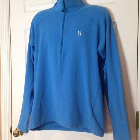 HAGLOFS Men Zip Neck Blue Astro Pullover Fleece Jacket, Size