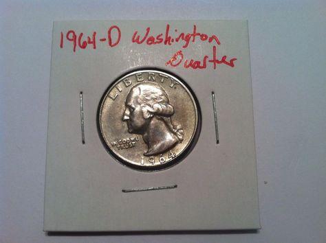 1964-D Washington Quarter! 90% Silver Coin!  Free Shipping!