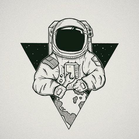 Drawn Astronaut minimalist 1 - 1005 X 1005 Free Clip Art stock illustration - Owips.com