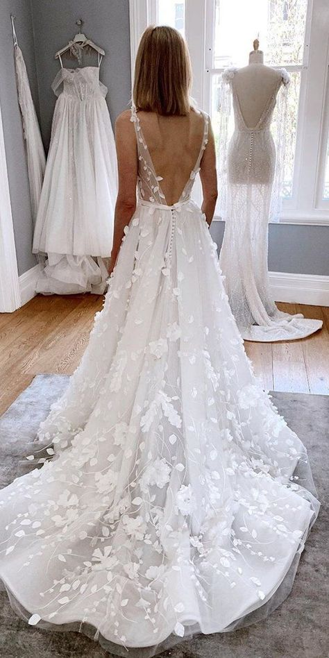 30 Sophicticated Backless Wedding Dresses ❤ backless wedding dresses a-line v. - 30 Sophicticated Backless Wedding Dresses ❤ backless wedding dresses a line v back florap appliques train pallascouture Boho Wedding Dress With Sleeves, White Lace Wedding Dress, Country Wedding Dresses, Wedding Dress Trends, Dream Wedding Dresses, Bridal Dresses, Lace Dress, Diy Lace Wedding Dress, Beachy Wedding Dresses