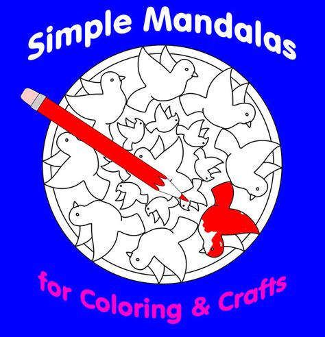 Whimsical #Mandala Design #Coloring Pages are simpler designs with recognizable images in the round. These playful coloring mandalas will  appeal to children as well as seniors looking for  relaxing art hobby projects. They're  lovely to use as patterns for  crafts, including embroidery and pierced paper decorations. Find printables and recommended coloring mandala books in this article.