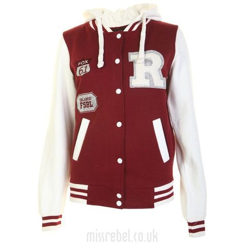 Orlando Baseball Jacket Wine ($15) ❤ liked on Polyvore