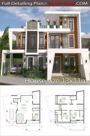 Home Design Plan 13x11m With 4 Bedrooms Plot 13x15 Samphoas Plansearch Model House Plan Architectural House Plans Beach House Plans