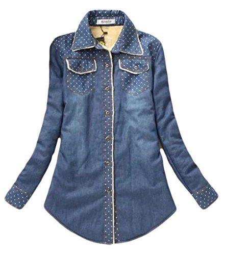 YUELANDE Women Denim Warm Winter Button Down Midi Outwear Coat