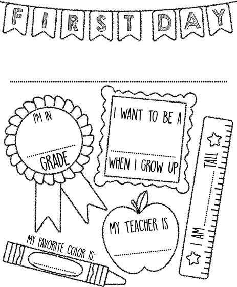 - First Day Of School Sign Coloring Page Crayola.com School Coloring Pages,  Kindergarten Coloring Pages, School Signs