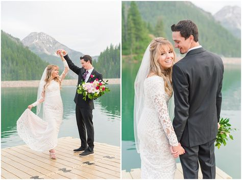 Candid photos of bride in lace dress and groom in black suit with deep pink and white floral bouquet | Utah Mountains and reservoir water Wedding Formal Session | Tibble Fork Summer Formal Session | Jessie and Dallin Photography #utahwedding #utahsummerwedding #utahbride #utahweddings #utahvalleybride #summerwedding #mountainwedding #utahelopement #utahmountains #rockymountainwedding #tibblefork #elopement