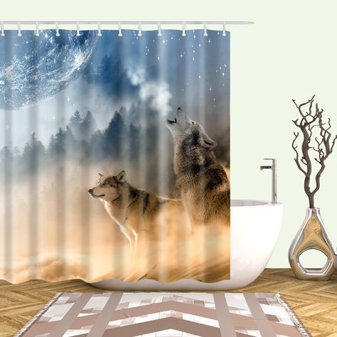 Howling To Moon Wolf Shower Curtain Bathroom Decor Curtains