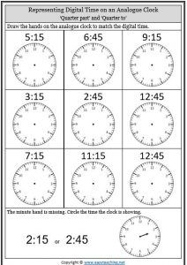 Telling Time Worksheets O Clock Half Past Quarter To