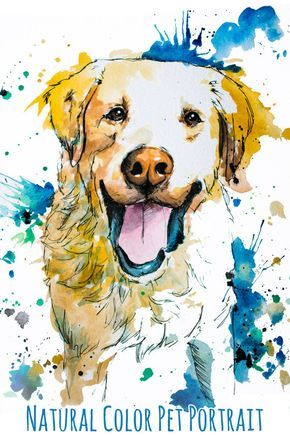 Custom Natural Tone Painted Pet Portrait Personalized Watercolor