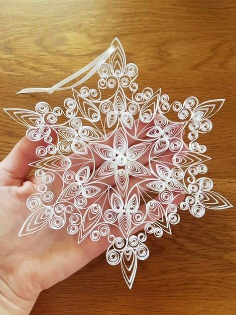 Extra Special Large Quilled Snowflake Ornament Decorated With | Etsy