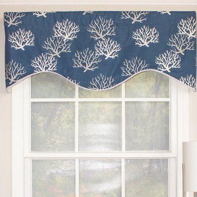 Sea Coral Floral Cotton Scalloped 50 Kitchen Curtain