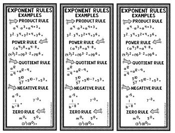 simplest form with positive exponents Exponent Rules Bookmark Notes - Power, Product, Quotient, Zero and