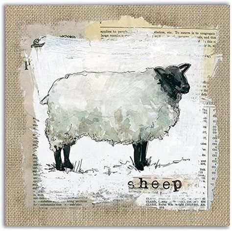 WEXFORD HOME Burlap Sheep Gallery Wrapped Canvas Wall Art, 24x24